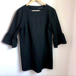 Zara Woman black bell sleeve shift dress